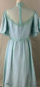 Vintage 80's Dance Allure Lace Satin Ruffle Formal Dress - Sally De La Rose