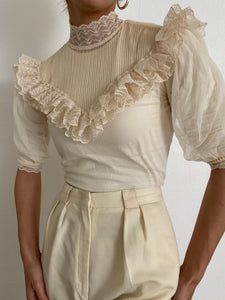 Antique High Neck Ivory Lace Ruffled Blouse