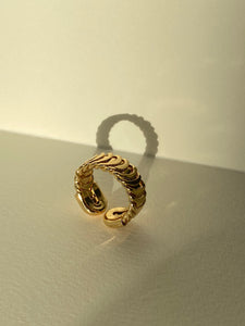 Gold Plated Harmony Flower Cuff Ring