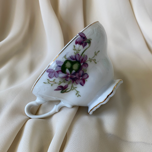 1950s Lefton Tea Cup Shell Snack Tray Hand Painted China Violet Floral Pattern