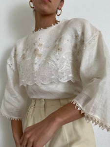 Antique Embroidered Linen White Blouse
