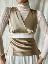 Load image into Gallery viewer, Vintage Satin V neck Back Tie Top