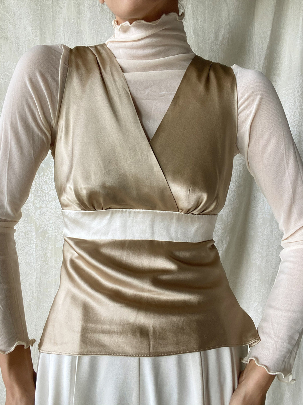 Vintage Satin V neck Back Tie Top