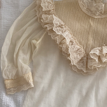 Load image into Gallery viewer, Antique High Neck Ivory Lace Ruffled Blouse