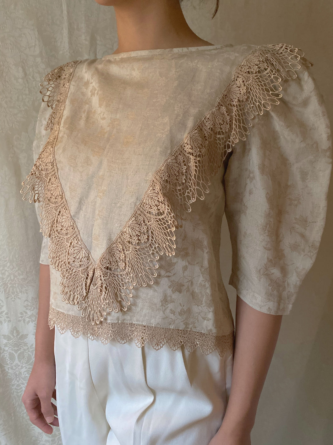 Victorian 80s Embroidered Floral Lace Blouse - Sally De La Rose