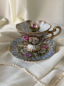 Vintage Sterling Iridescent Teacup and Saucer with Textured Pansy Flowers