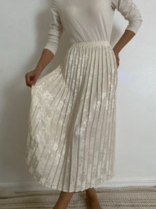 Antique Embossed Ivory Pleated Skirt