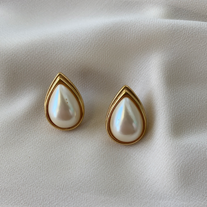Vintage Monet Tear Drop Pearl Studs