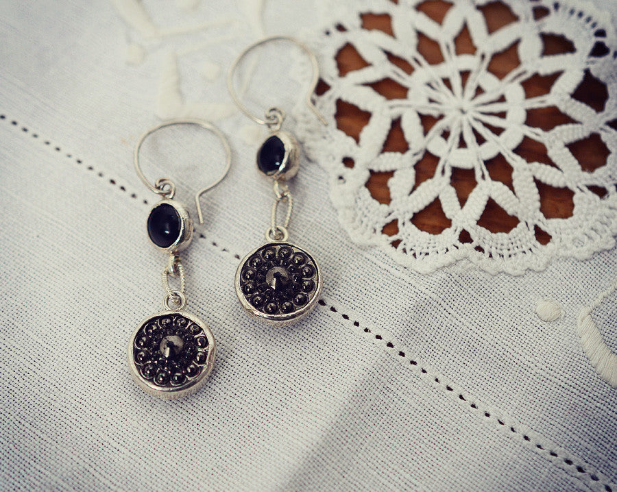 Drop set button earrings (one-off)