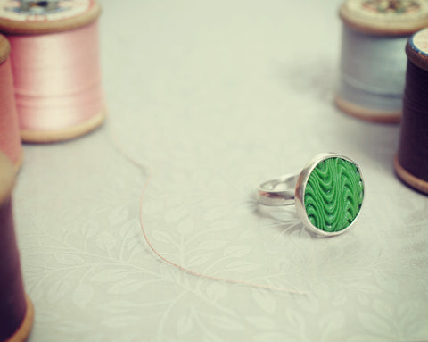 Green glass button ring