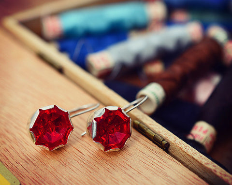Red vintage glass button earrings