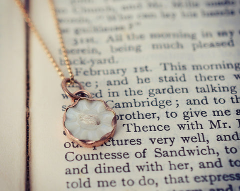 Rose gold mother of pearl button necklace (one-off)