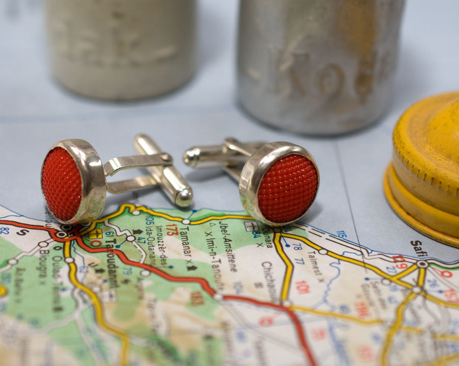 Red glass button cufflinks (one-off)