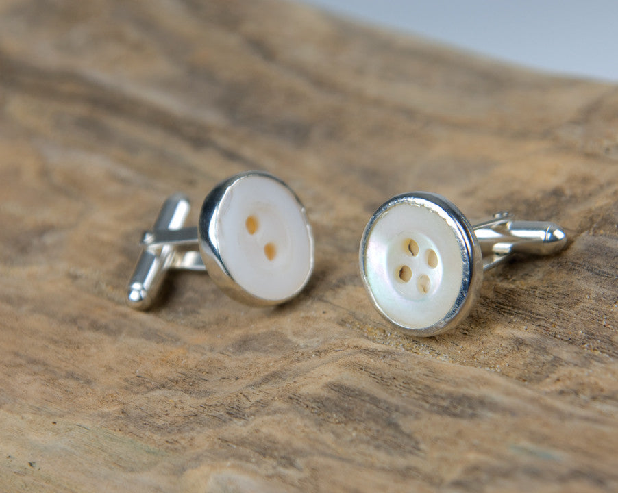Mother of pearl button cufflinks medium