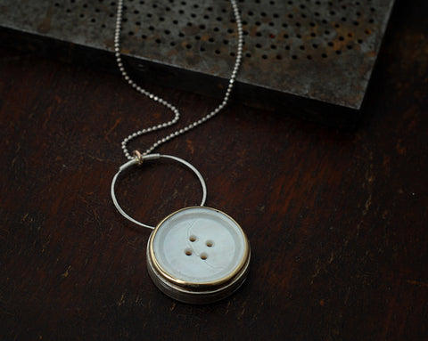 Box locket button necklace