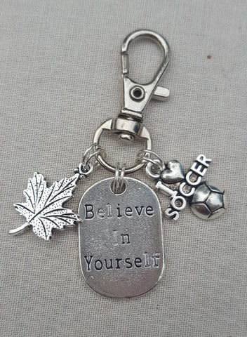 Soccer Believe in Yourself Key Chain