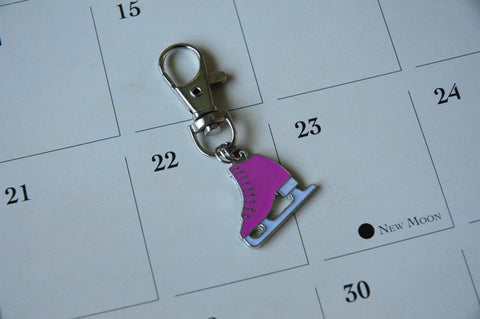 Pink Figure Skate Key Chain