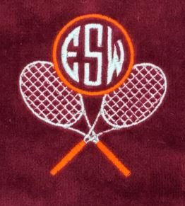 Cross Racquets Monogrammed Tennis Towel