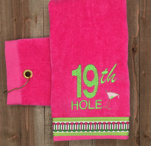 "Grommet Hot Pink ""19th Hole"" Embroidered Golf Towel"