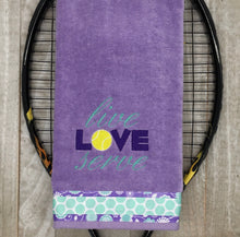 "Load image into Gallery viewer, Embroidered ""Live LOVE Serve"" Tennis Towel"