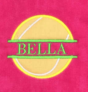 Name Drop with Applique Personalized Tennis Towel