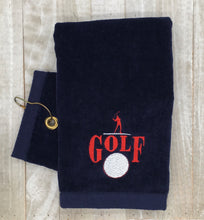 "Load image into Gallery viewer, Grommet Navy ""GOLF"" Embroidered Golf Towel with Grommet"