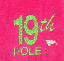 "Load image into Gallery viewer, Grommet Hot Pink ""19th Hole"" Embroidered Golf Towel"
