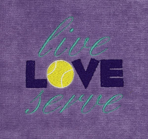 "Embroidered ""Live LOVE Serve"" Tennis Towel"