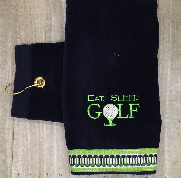 "Grommet Navy ""Eat Sleep Golf"" Embroidered Golf Towel"
