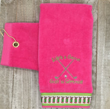 "Load image into Gallery viewer, Grommet Hot Pink ""Life is a Game"" Embroidered Golf Towel"
