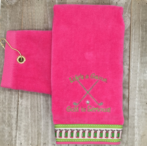 "Grommet Hot Pink ""Life is a Game"" Embroidered Golf Towel"