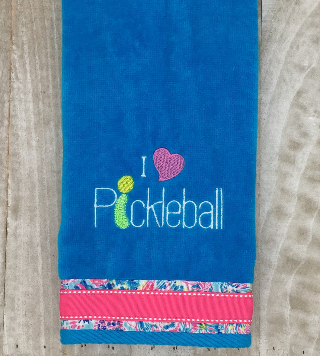 I Heart Pickleball Towel