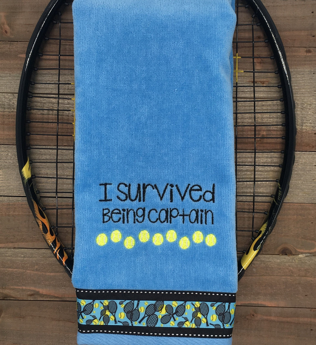 I Survived Being Captain Tennis Towel