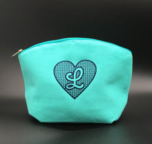 Load image into Gallery viewer, Heart Embossed Embroidered Cosmetic Bag