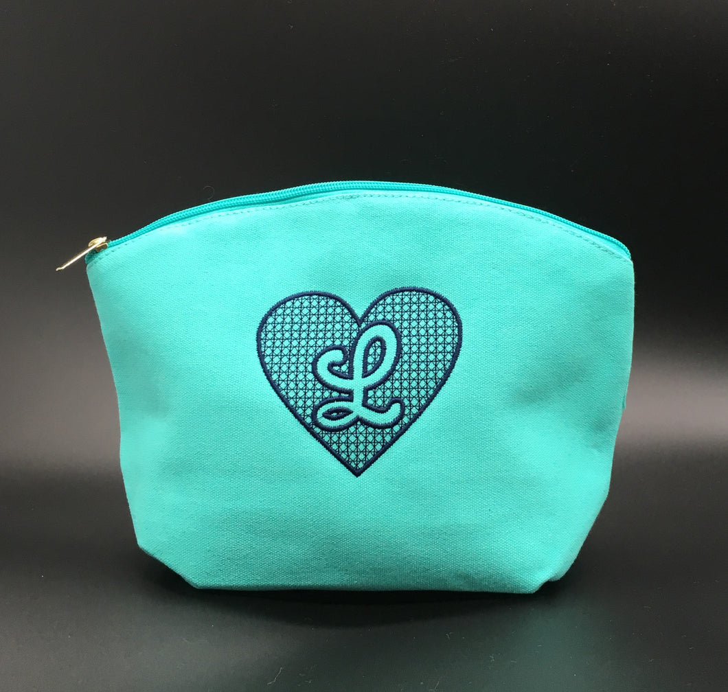 Heart Embossed Embroidered Cosmetic Bag