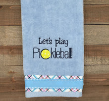 Load image into Gallery viewer, Let's Play Pickleball Tennis Towel