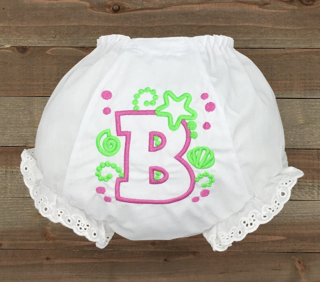 Monogrammed Bow Baby Bloomer