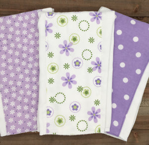 Burp Cloths Three Lavender Coordinating with Flannel
