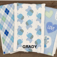 Burp Cloths Three Blue Coordinating with Flannel