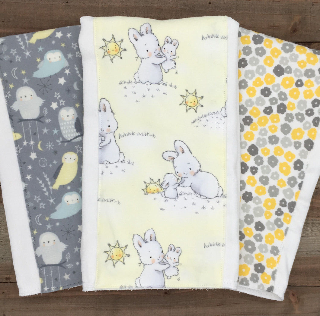 Burp Cloths Coordinating Yellow/Grey Burp Cloths with Flannel
