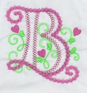 Monogrammed Fancy Hearts Baby Bloomer