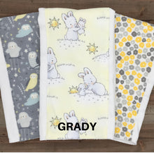 Load image into Gallery viewer, Burp Cloths Coordinating Yellow/Grey Burp Cloths with Flannel