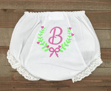 Load image into Gallery viewer, Monogrammed Fancy With Bow Baby Bloomer