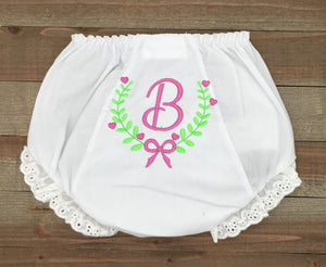 Monogrammed Fancy With Bow Baby Bloomer