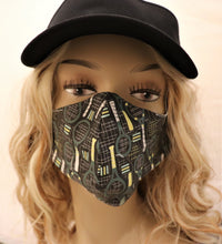 Load image into Gallery viewer, Tennis Fabric Handmade Face Mask Black with Racquets