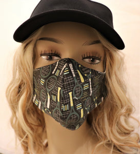 Tennis Fabric Handmade Face Mask Black with Racquets