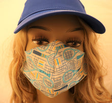Load image into Gallery viewer, Tennis Fabric Handmade Face Mask White with Light Blue