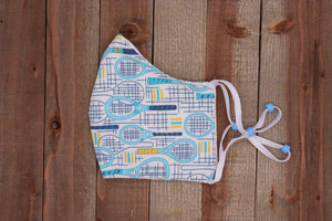 Tennis Fabric Handmade Face Mask White with Light Blue