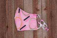 Tennis Fabric Handmade Face Mask Pink with Racquets
