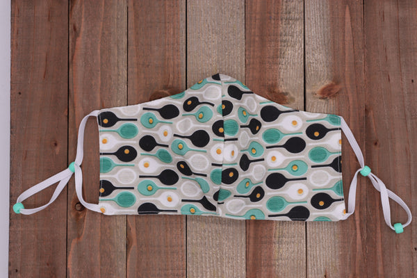 Tennis Fabric Handmade Face Mask Teal and Black